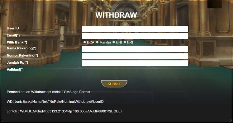 Cara melakukan withdraw sbobet